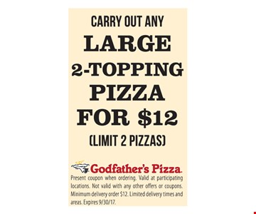 Carry Out Any Large 2 - Topping Pizza For $12