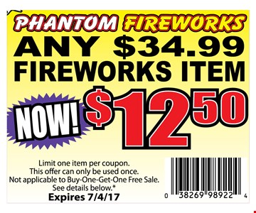 Any $34.99 Firework for $12.50