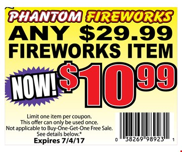 Any $29.99 Fireworks for $10.99