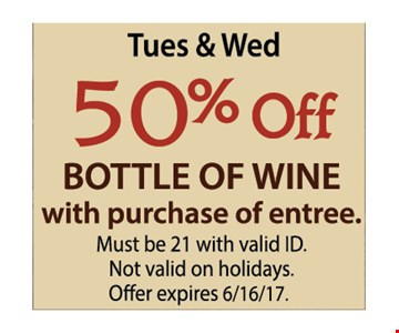 50% off bottle of wine