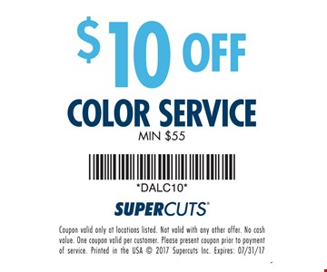 $10 off color service