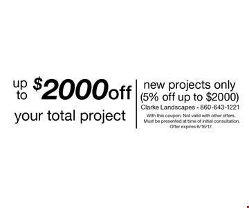 Up to $2000 off your total project. New projects only (5% off up to $2000). With this coupon. Not valid with other offers. Must be presented at time of initial consultation. Offer expires 6/16/17.