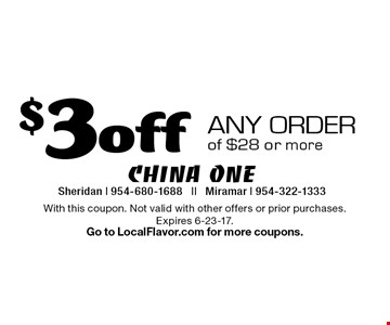 $3 off any order of $28 or more. With this coupon. Not valid with other offers or prior purchases. Expires 6-23-17.Go to LocalFlavor.com for more coupons.
