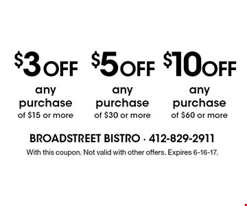 $3 OFF any purchase of $15 or more OR $5 OFF any purchase of $30 or more OR $10 OFF any purchase of $60 or more. With this coupon. Not valid with other offers. Expires 6-16-17.