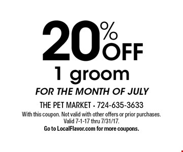 NEW GROOMS 25% off 1 groom, $5 off next groom. With this coupon. Not valid with other offers or prior purchase. Does not apply to Lucky 7 Club. Expires 8-1-17. Go to LocalFlavor.com for more coupons.