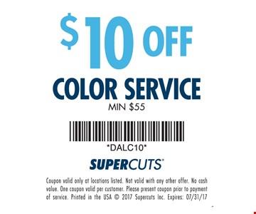 $10 Off Color Service