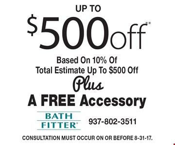 Up to $500 off** Based On 10% Of Total Estimate Up To $500 Off Plus A free Accessory. ©2017 Bath Fitter® **Some restrictions apply. Ask your representative about the Customer Savings Program. Offer valid on entire baths only (tub to shower conversions or tub plus wall projects). Coupon must be presented and used at the time of consultation. Not valid on previously contracted work or combined with any other offers. Financing available with approved credit. Minimum deposit required. Valid in the greater Dayton area. Consultation must occur on or before 8-31-17.