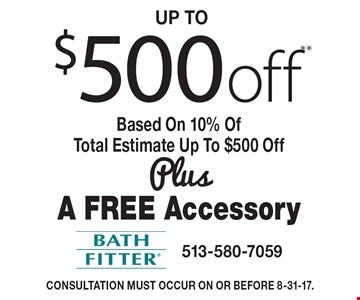 Up to $500 off** Based On 10% Of Total Estimate Up To $500 Off Plus A Free Accessory. Consultation must occur on or before 8-31-17.