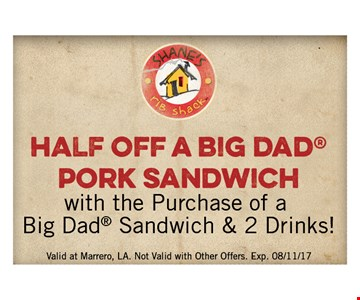 Half off a big dad pork sandwich