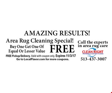 FREE AMAZING RESULTS! Area Rug Cleaning Special! Buy One Get One Of Equal Or Lesser Value. FREE Pickup/Delivery. Valid with coupon only. Expires 11/3/17. Go to LocalFlavor.com for more coupons.