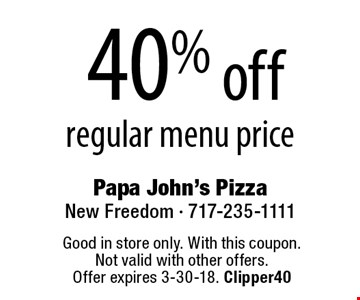 40% off regular menu price. Good in store only. With this coupon. Not valid with other offers. Offer expires 3-30-18. Clipper40