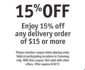 15%OFF Enjoy 15% off