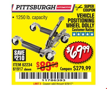 $69.99 vehicle positioning wheel dolly