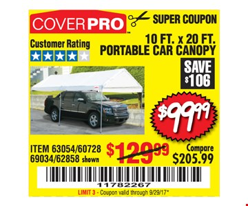 $99.99 10ft.x20ft. portable car canopy