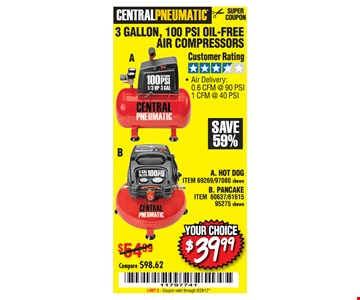 Your choice $39.99 3 gallon, 100 psi oil-free air compressors