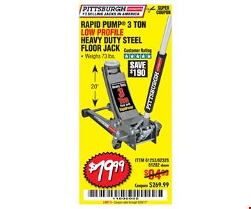 $79.99 rapid pump, 3 ton low profile heavy duty steel floor jack
