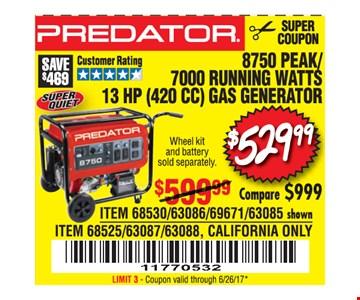 $529.99 predator generator