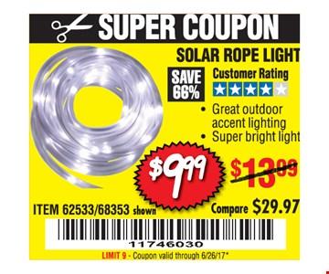 $9.99 solar rope light