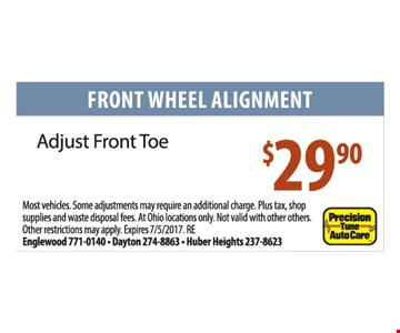 Front Wheel Alignment $29.90