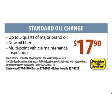 Standard Oil Change $17.90