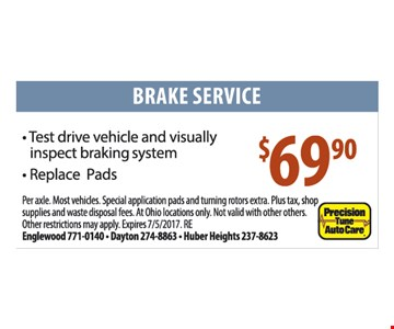 Brake Service $69.90