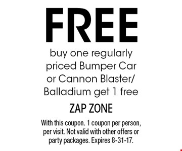 Buy one regularly priced Bumper Car or Cannon Blaster/Balladium, get 1 free. With this coupon. 1 coupon per person, per visit. Not valid with other offers or party packages. Expires 8-31-17.