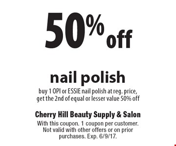 50% off OPI or Essie nail polishbuy 1 OPI or ESSIE nail polish at reg. price, get the 2nd of equal or lesser value 50% off. With this coupon. 1 coupon per customer. Not valid with other offers or on prior purchases. Exp. 6/9/17.