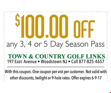 $100 off any 3, 4 or 5 day season pass