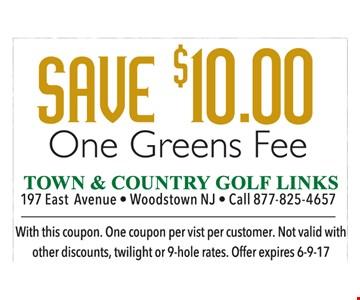 $10 off one greens fee