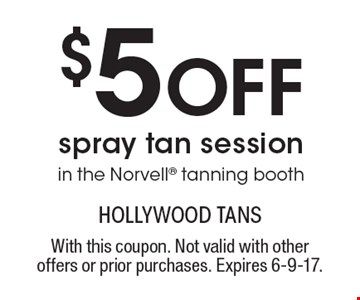 $5 Off Spray Tan Session In The Norvell Tanning Booth. With this coupon. Not valid with other offers or prior purchases. Expires 6-9-17.
