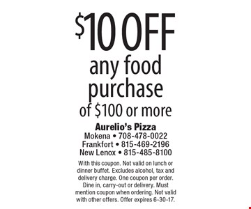$10 off any food purchase of $100 or more. With this coupon. Not valid on lunch or dinner buffet. Excludes alcohol, tax and delivery charge. One coupon per order. Dine in, carry-out or delivery. Must mention coupon when ordering. Not valid with other offers. Offer expires 6-30-17.