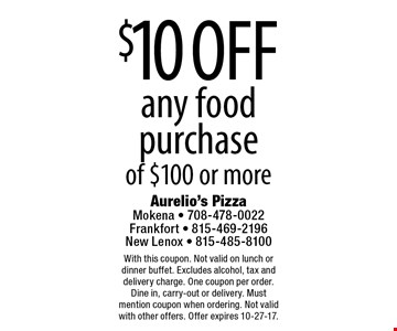 $10 off any food purchase of $100 or more. With this coupon. Not valid on lunch or dinner buffet. Excludes alcohol, tax and delivery charge. One coupon per order. Dine in, carry-out or delivery. Must mention coupon when ordering. Not valid with other offers. Offer expires 10-27-17.