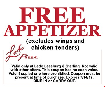 Free Appetizer ( excludes wings and chicken tenders )