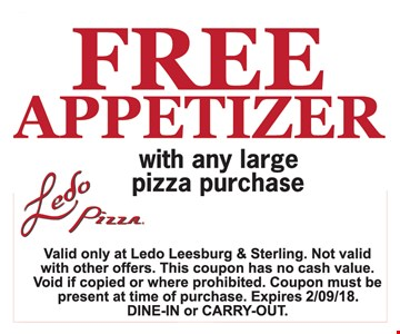 Free appetizer with any large pizza purchase