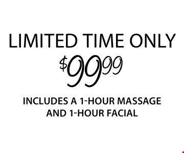 $99.99 1-hour massage and 1-hour facial. Limited time only Introductory offer valid for first-time Guests only. Both 1-hour services must be redeemed in sequential appointments on the same day. Offer valid thru 7/31/17. Only valid at Regency Court location. Service times include up to 10 min. of prep time. Additional local taxes and fees may apply. Rates and services may vary by location. See store for details. Each Massage Heights Retreat is independently owned and operated. Franchise opportunities available. 2017 Massage Heights Franchising, LLC. MM 32398
