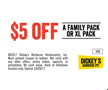 $5 off a family pack or XL pack