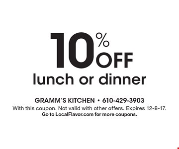 10% off lunch or dinner. With this coupon. Not valid with other offers. Expires 12-8-17. Go to LocalFlavor.com for more coupons.