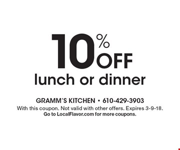10% off lunch or dinner. With this coupon. Not valid with other offers. Expires 3-9-18. Go to LocalFlavor.com for more coupons.