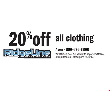 20%off all clothing. With this coupon. Not valid with any other offers or prior purchases. Offer expires 6/30/17.