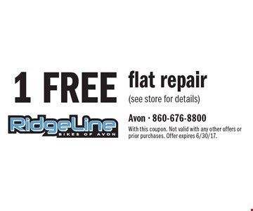 1 FREE flat repair (see store for details). With this coupon. Not valid with any other offers or prior purchases. Offer expires 6/30/17.