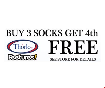 Buy 3 Socks, Get the 4th Free. Expires 6/30/17.