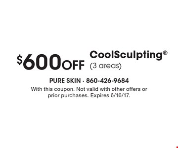 $600 off CoolSculpting® (3 areas). With this coupon. Not valid with other offers or prior purchases. Expires 6/16/17.