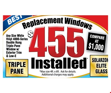 Replacement windows $455