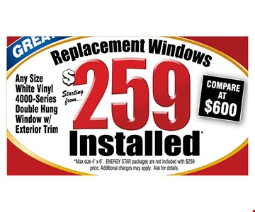 Replacement windows $259