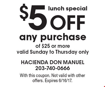 lunch special $5 off any purchase of $25 or more, valid Sunday to Thursday only. With this coupon. Not valid with other offers. Expires 6/16/17.