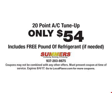 20 Point A/C Tune-Up ONLY $54 Includes FREE Pound Of Refrigerant (if needed). Coupons may not be combined with any other offers. Must present coupon at time of service. Expires 8/4/17. Go to LocalFlavor.com for more coupons.