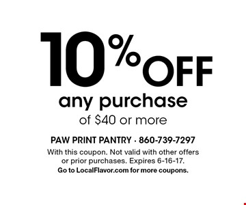 10% Off any purchase of $40 or more. With this coupon. Not valid with other offers or prior purchases. Expires 6-16-17.Go to LocalFlavor.com for more coupons.