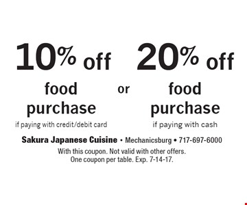 20% off food purchase if paying with cash. 10% off food purchase if paying with credit/debit card. With this coupon. Not valid with other offers.One coupon per table. Exp. 7-14-17.