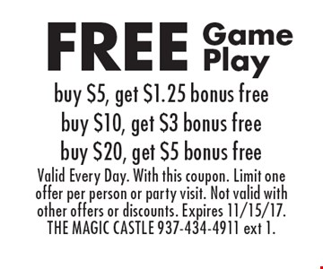 FREE Game Play. Buy $5, get $1.25 bonus free. Buy $10, get $3 bonus free. Buy $20, get $5 bonus free. Valid Every Day. With this coupon. Limit one offer per person or party visit. Not valid with other offers or discounts. Expires 11/15/17. THE MAGIC CASTLE 937-434-4911 ext 1.