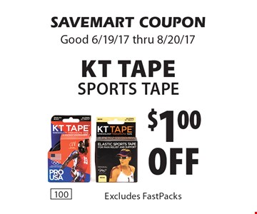 $1.00 off KT Tape Sports Tape Excludes FastPacks. SAVEMART COUPON Good 6/19/17 thru 8/20/17.